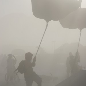 A typical Burning Man dust storm. This is the view at least a few hours out of every day if there is any wind at all.